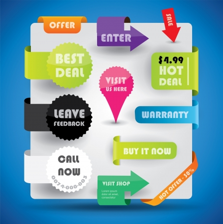 sticker design: Special offer and warranty labels and stickers in vibrant color variations