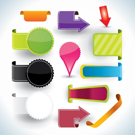 Special offer and warranty labels and stickers in vibrant color variations - blank