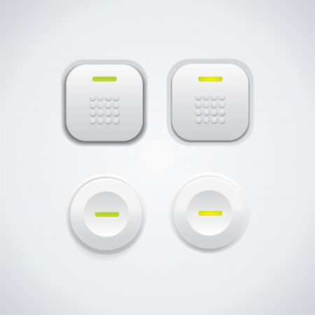 Detailed UI buttons on light colored surface