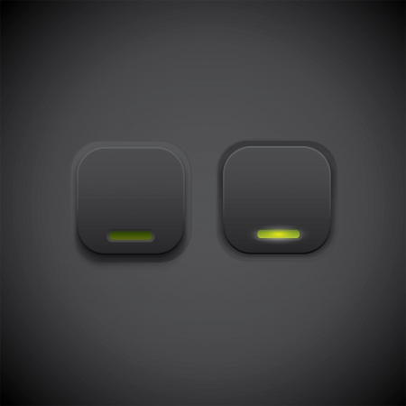 Dark UI button with green led Vector