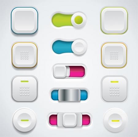 UI moderne bouton ensemble y compris les commutateurs et boutons poussoirs