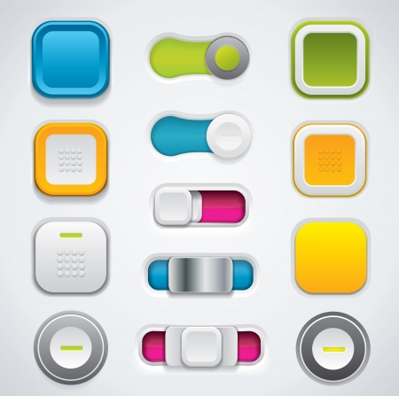 Colorful buttons in different design variations