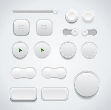 다양한 디자인 변형의 스위치 및 푸시 버튼 등의 UI 단추 세트