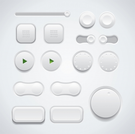 UI button set including switches and push buttons in different design variations Illustration
