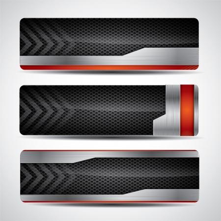 acier: Banner set avec un design métallique et du carbone