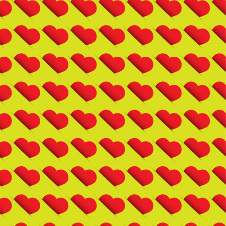 Seamless heart pattern - red hearts on green background Illustration