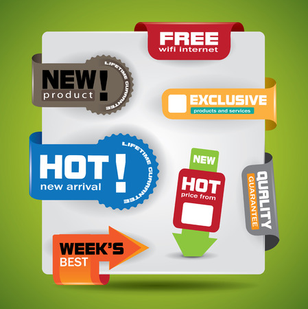 promotional offer: Special offer and warranty labels and stickers in vibrant color variations