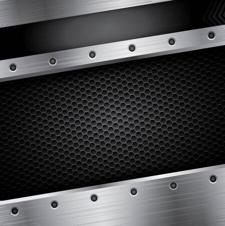 steel frame: Metallic background with black pattern and steel frame Illustration