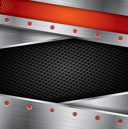 steel frame: Metallic background with steel frame and red elements