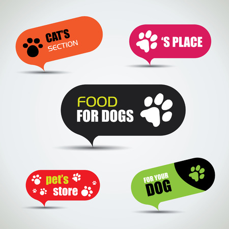 pet store advertising: Dog and cat labeled pet store bubbles  Illustration