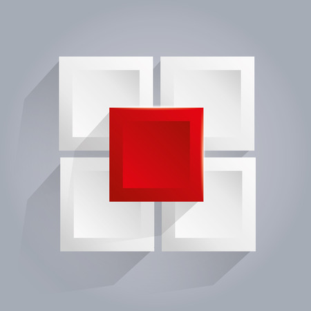 Infographics background with white and red cubes