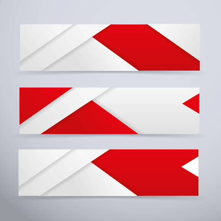 Banners, white and red vector illustration