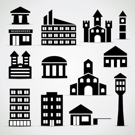Building icon set - simple illustrations Illustration