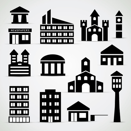 Edificio icon set - semplici illustrazioni