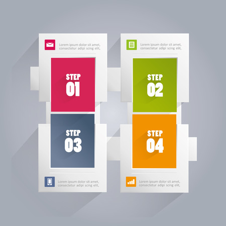 Infographics background with rectangular elements including four steps or options with different colored backgrounds