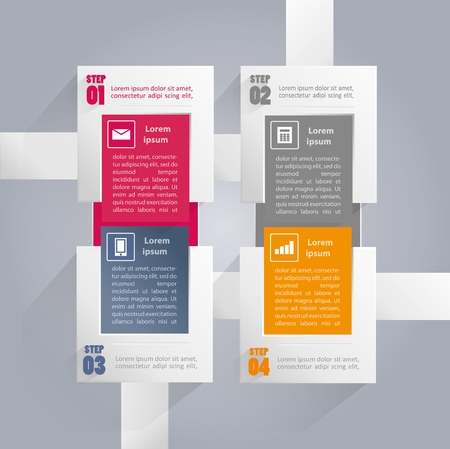 Infographics background with rectangular elements and icons
