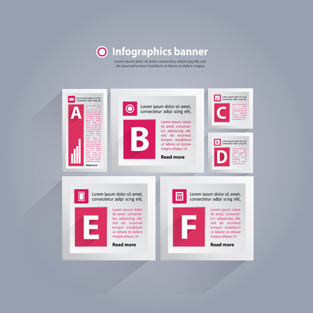 Infographics background with cubes and numbers - pink and white
