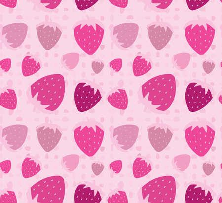Pink strawberry seamless pattern illustration