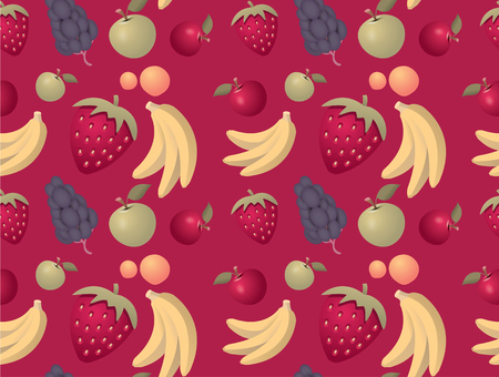 Fruits pattern background - seamless with mixed fruits Illustration
