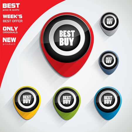 Best buy tag set in different color variations