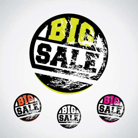 catchy: Big sale price tag, catchy design with grungy ink splatter Illustration