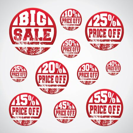 Price off tag, sticker set with percentage discounts and grungy ink splatter on them