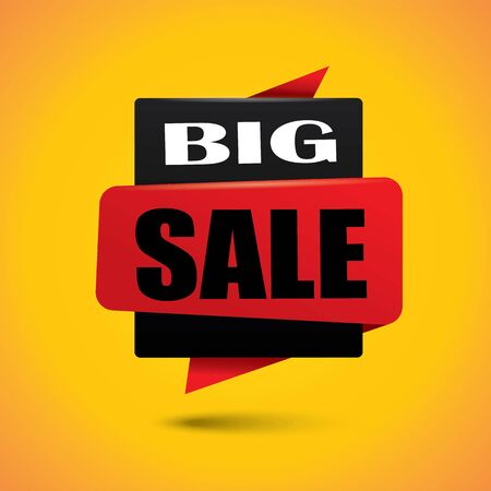 Big sale banner bubble in black and red colors Illustration