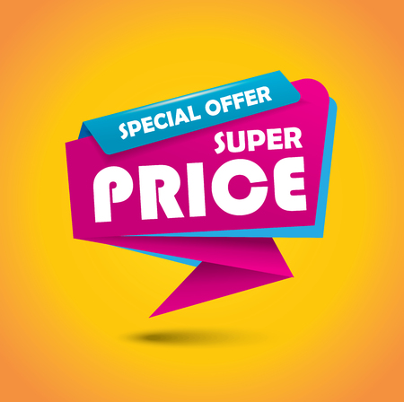 Super price bubble banner in vibrant pink and blue colors