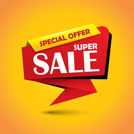 Super sale discount bubble banner in red color Illustration