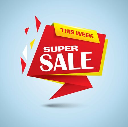 Super sale bubble banner in vibrant red color