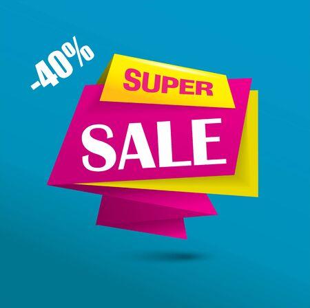 Super sale bubble banner in vibrant colors