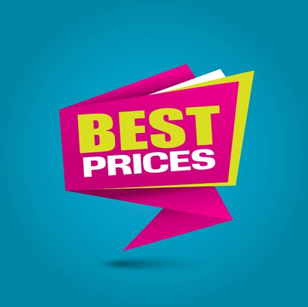 Best prices bubble style banner - pink vector and origami design Illustration