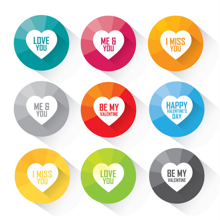 Love and valentine greetings in vector heart set - colorful flat design Illustration