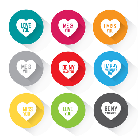 Heart icon set in colorful flat design with greetings
