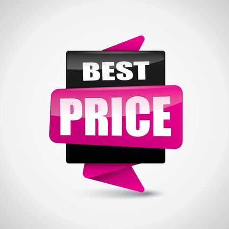 Glossy best price bubble banner in pink and black colors
