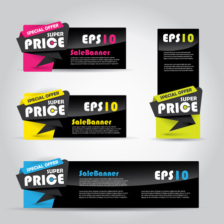 Vibrant sale banner template, horizontal advertising business banner template