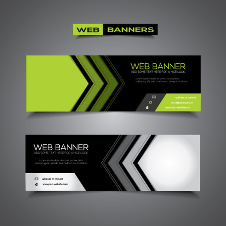 Abstract web banner with corporate city business template, black and green colors