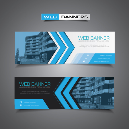 Abstract web banner with corporate city business template, blue and black colors Vettoriali