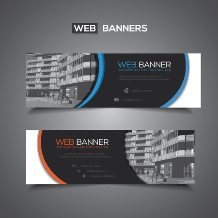Web banner with abstract design and masked area for any image