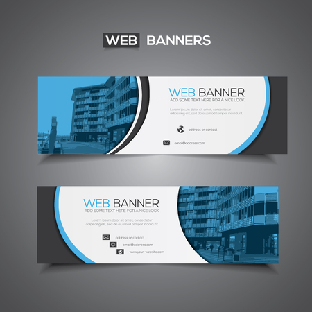 Web banner with abstract design and masked area for any image, blue and white colors