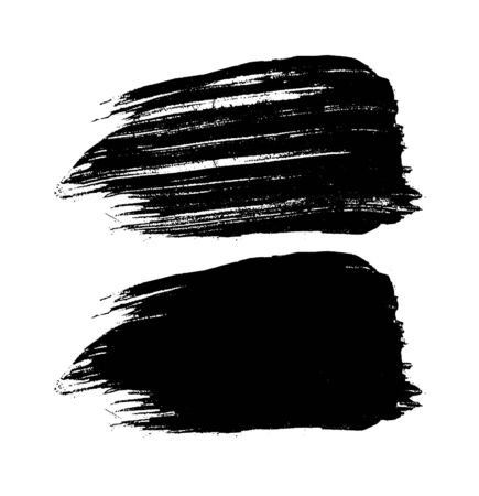 Vector Black hand painted brush strokes. Abstract grunge Black paintbrush vector illustration. Stroke or scribble isolated element.