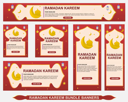 Ramadan Kareem background design collection with red color for modern Islamic banners and advertisements, ied mubarak celebrations, fasting.