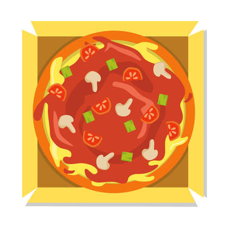 Vector illustration of pizza with tomato sauce and cheese freshly opened from box. restaurant and food themes, suitable for advertising food products