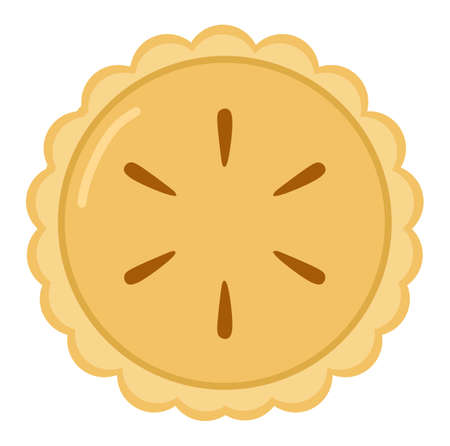 Vector illustration of a ripe pie seen from above, themed restaurant and cafe, perfect for advertising food products
