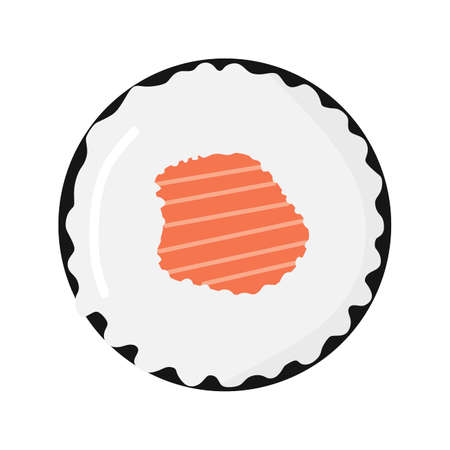 Vector illustration of sushi seen from above and contains salmon meat, restaurant theme and Japanese cuisine, perfect for advertising food products