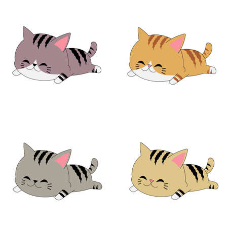 Vector illustration with white background, cute chibi cat set with different colors