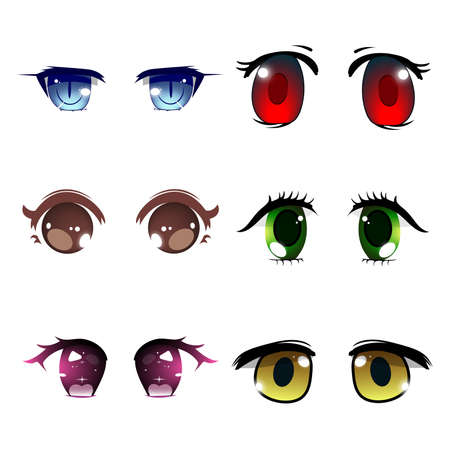 Vector illustration with white background, anime chibi eye collection