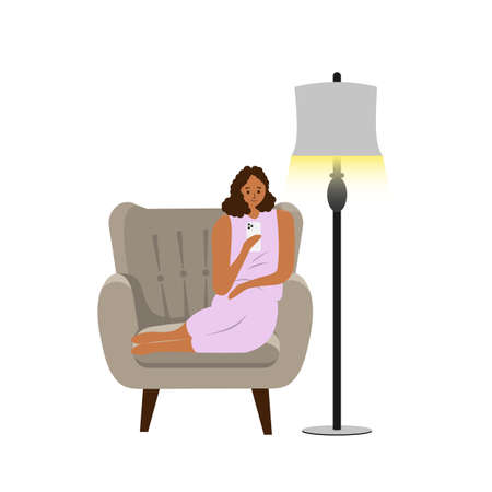 Vector illustration with white background, woman play smartphone on the couch