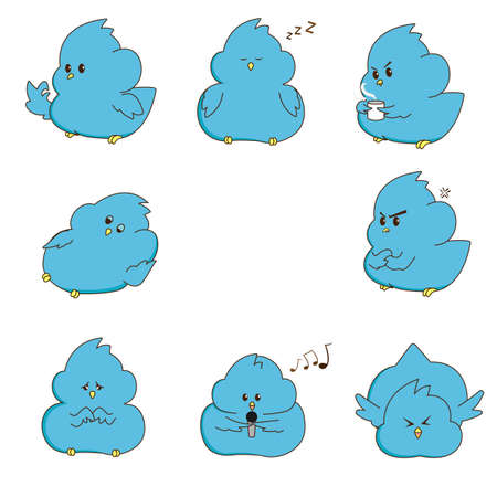 Vector illustration with white bckground, cute icon blue bird cartoon with different style Vettoriali