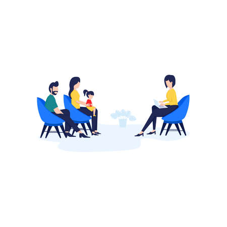 Vector illustration flat design, psychotherapy counseling for a child concept, Treatment of child stress, addictions and mental problems, a therapy session with a family psychologist Ilustração Vetorial